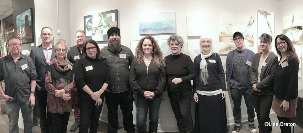Le Galeriste Michel Therrien et ses artistes permanents au vernissage du 13 décembre 2019 Photo @Lise Breton