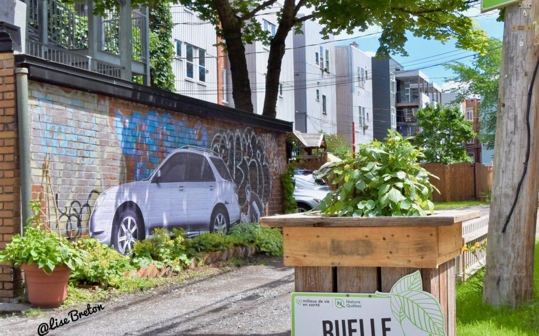 Wartin Pantois expose ses collages muraux dans la ruelle verte Le Grand Peuplier du Quartier Montcalm de Québec!